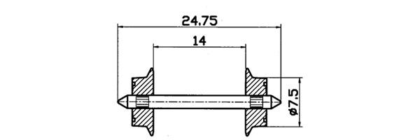 Roco 40184 AC Radsatz-Pair 7,5 millimetri