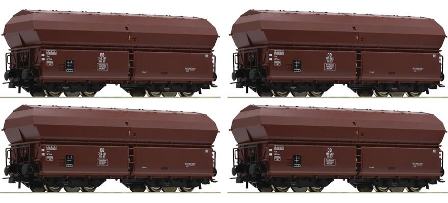 NEU//OVP 4 Roco H0  67083  DB III Set Klappdeckelwagen