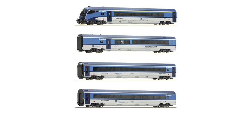 74066 Vierteiliges Railjet-Wagenset der CD mit AC