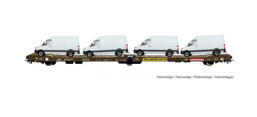 HR6449 FS, 3-axle flat van transporter 'Transwaggon', loaded with 4 vans