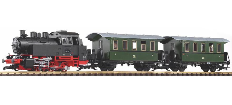 PIKO 37125 Start-Set Personenzug BR 80 mit Sound+Dampf Spur G