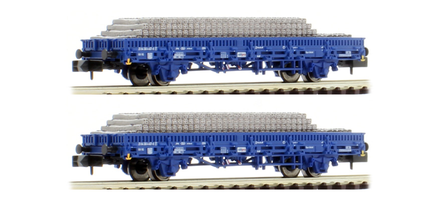 HN6401 Railpro in blue livery, loaded with concrete sleepers