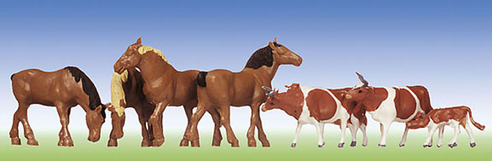 Faller 154002  Horses brown-spotted cows  1:87