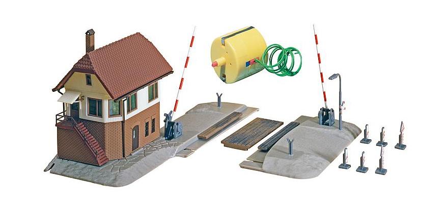 FALLER 222171 Bahnübergang mit Stellwerk Epoche III Bausatz N
