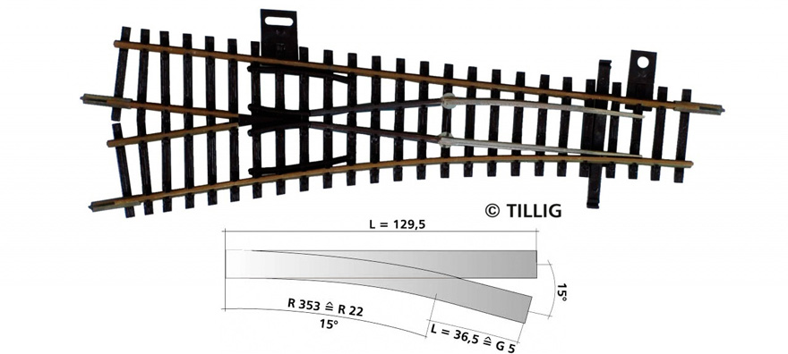 Tillig 83327 EW1 15° links