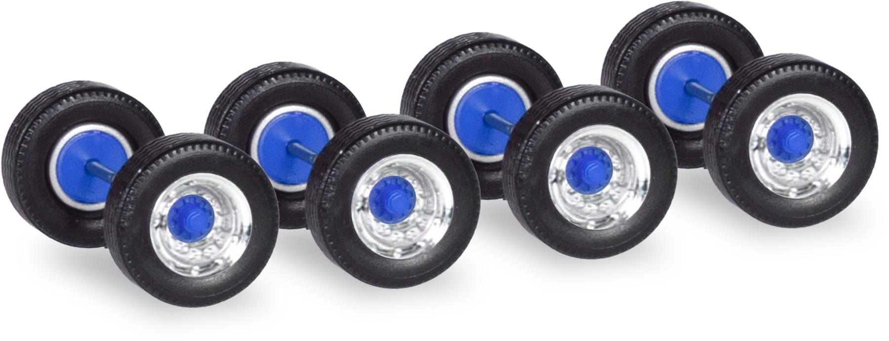 chrom//blau Herpa 053891  12 Radsätze Breitreifen für Auflieger