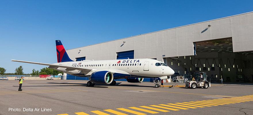 Herpa 532952-1//500 delta air lines airbus a220-100 nuevo