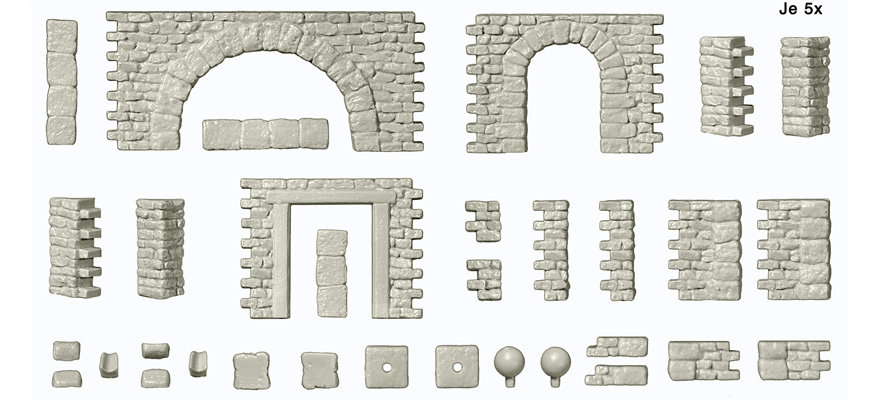 18217 Quarrystone walls with doorways