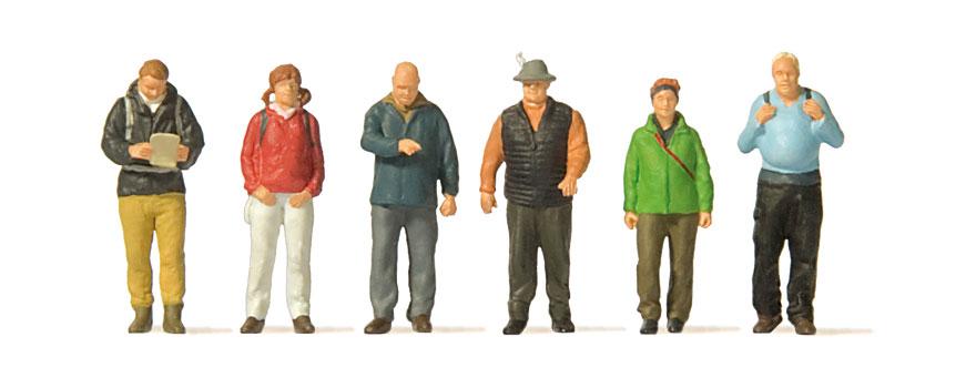 Preiser 14077 H0 Neu Wanderer handbemalt 6 Figuren
