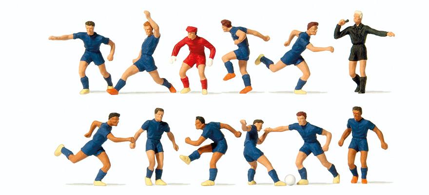 brand new 5e729 659ed Preiser 10759 Spur H0 Fußballmannschaft. Blaue Trikots und Hosen