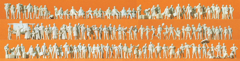 Preiser 79006 N Reisende und Passanten verschiedene Figurengruppen 125 unbemalte